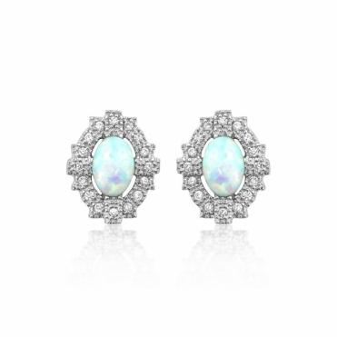 Sterling Silver Deco Synthetic Opal Empire Earrings