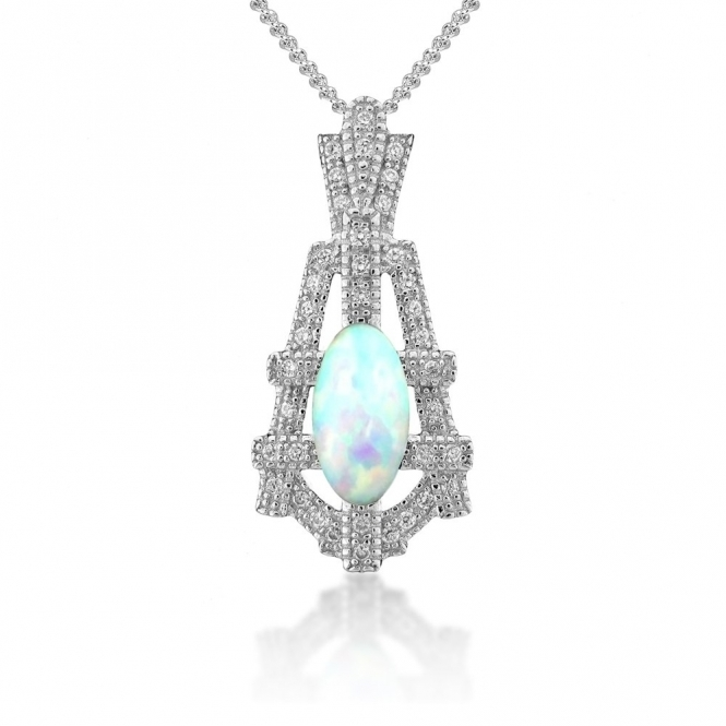Sterling Silver Deco White Synthetic Opal Empire Pendant