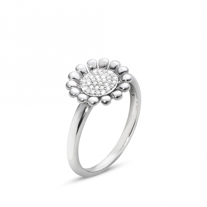 Sterling Silver Diamond Set Small Sunflower Ring