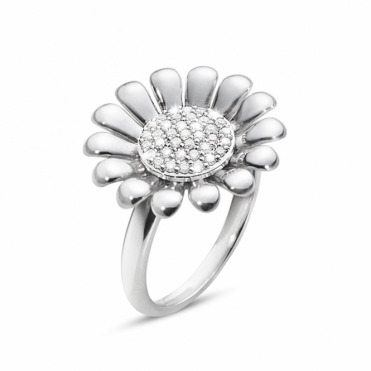 Sterling Silver Diamond Set Sunflower Ring - Large