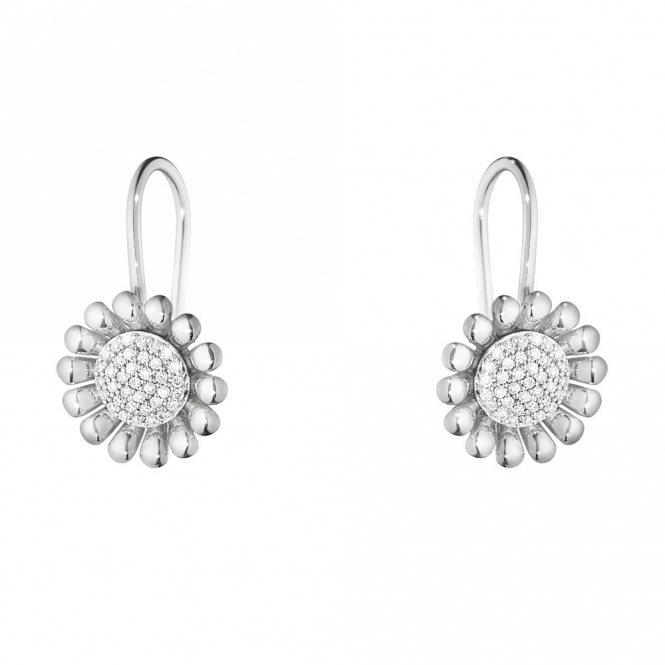 Sterling Silver Diamond Sunflower Ear Hooks