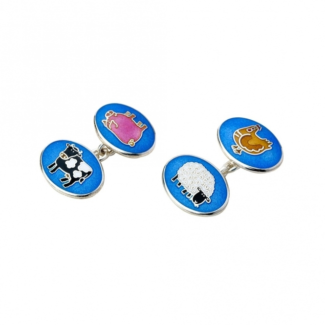 Sterling Silver & Enamel Farmyard Animal Cufflinks