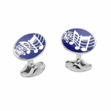 Sterling Silver Enamel Musical Notes Oval Cufflinks