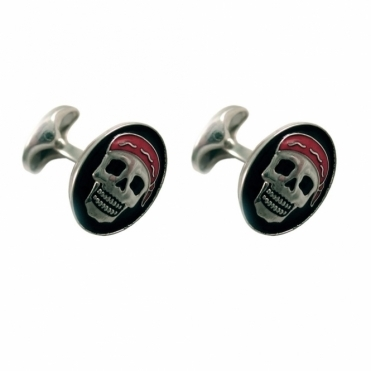 Sterling Silver Enamel Pirate Skull Cufflinks with T-Bar