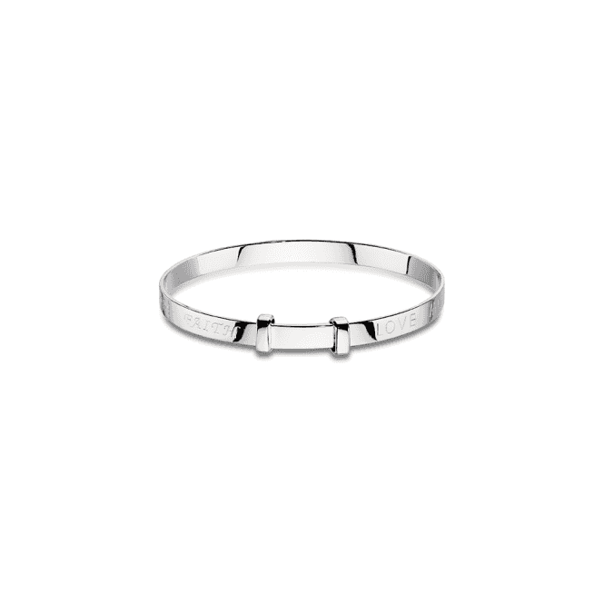 Sterling Silver Faith Christening Bangle