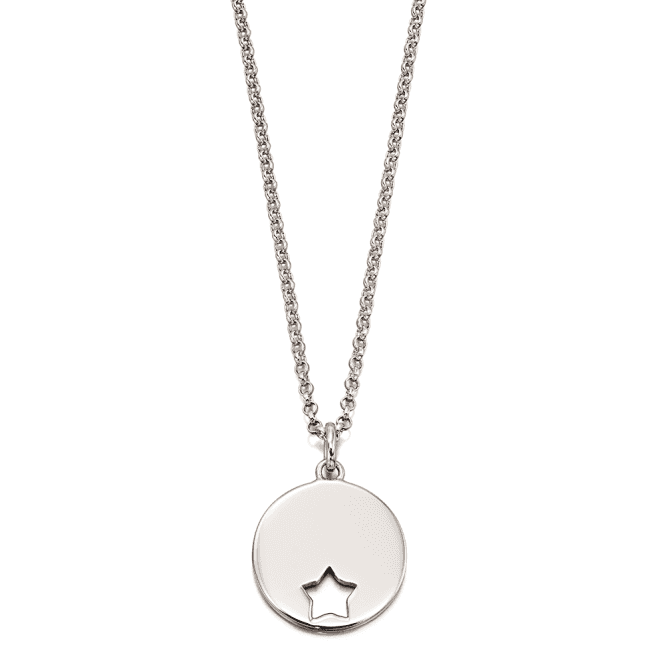 Sterling Silver Gia Adults Cut Out Star Disc Pendant