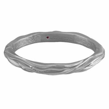 Sterling Silver Giacca Oval Hinged Bangle