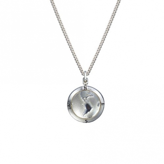 Sterling Silver Globe St Christopher Necklace