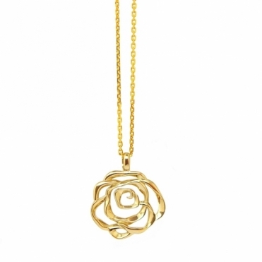Sterling Silver Gold Plated Rose Pendant
