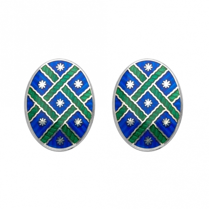 Sterling Silver Green Enamel Oval Cufflinks