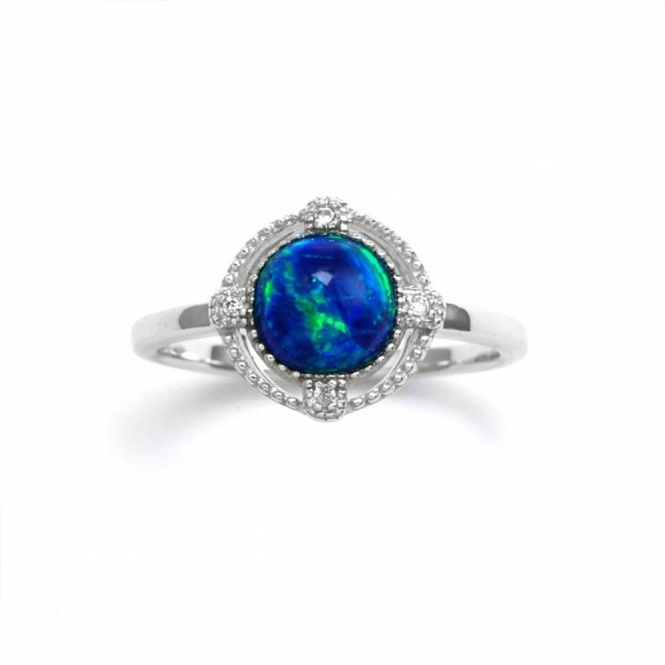 Sterling Silver Green Opal Brilliance Ring