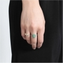 Sterling Silver Green Scarab Ring