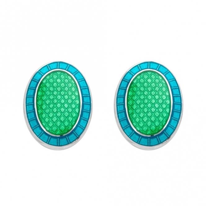 Sterling Silver Green & Turquoise Enamel Oval Cufflinks