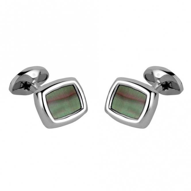 Sterling Silver Grey Mother of Pearl Cushion Shaped Cufflinks