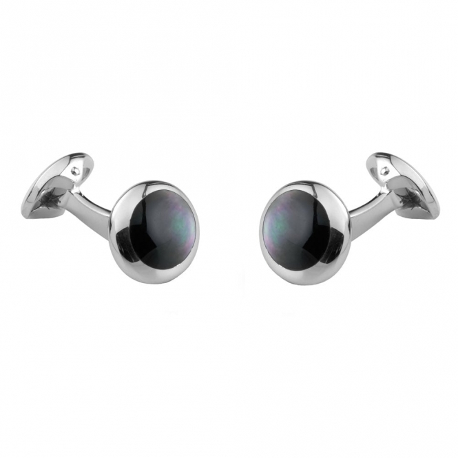Sterling Silver Grey Mother of Pearl Domed Oval Cufflinks