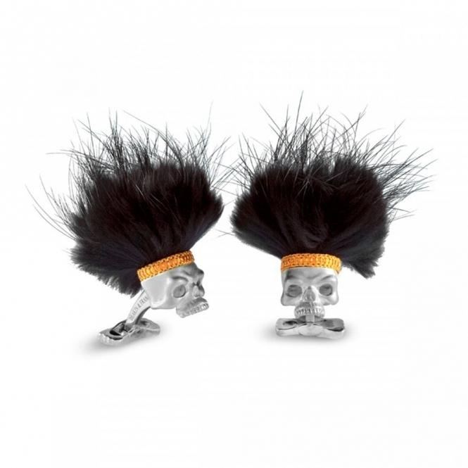 "Sterling Silver ""Hairy Savage"" skull cufflinks with Bone design swivel backs"