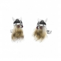 Sterling Silver Hairy Viking cufflinks with black spinel helmet and ruby eyes