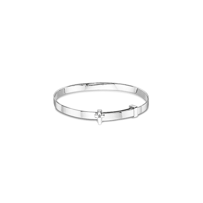 Sterling Silver Honor Diamond Cross Christening Bangle