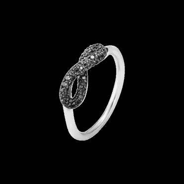 Sterling Silver Infinity Black Diamond Ring