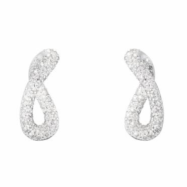 Sterling Silver Infinity Diamond Earrings