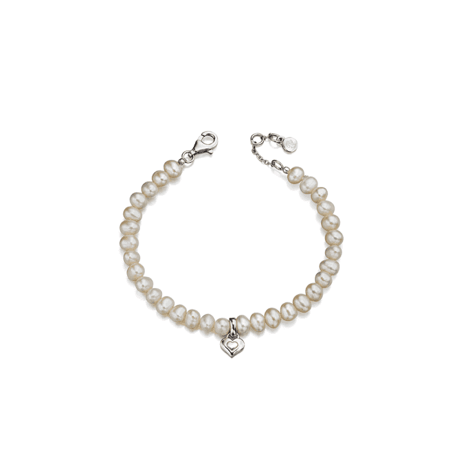 Sterling Silver Marni Freshwater Pearl Bracelet With Heart Charm