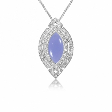 Sterling Silver Marquise Dream Chalcedony Pendant