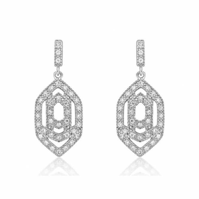Sterling Silver Marquise Interlock Earrings
