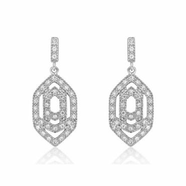 Sterling Silver Marquise Interlock Earrings