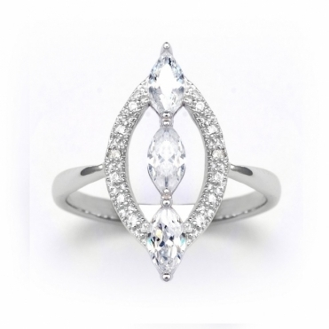 Sterling Silver Marquise Navette Ring