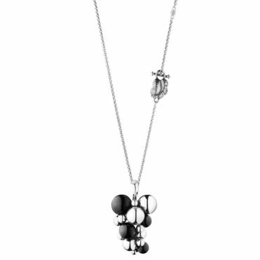 Sterling Silver Moonlight Grapes Black Agate Pendant