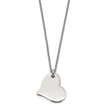 Sterling Silver Nina Adults Plain Large Heart Pendant