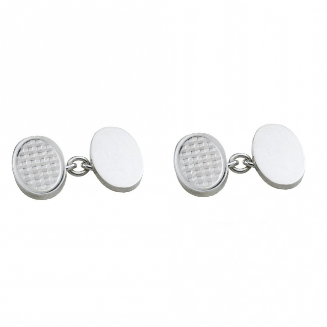 Sterling Silver Oval Chain Link Cufflinks