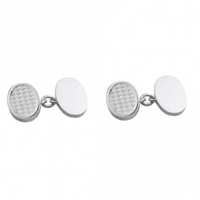Sterling Silver Oval Chain Link Cufflinks