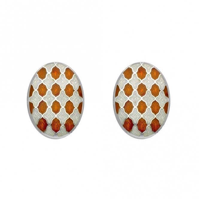 Sterling Silver Oval White & Orange Enamel Chain Link Cufflinks