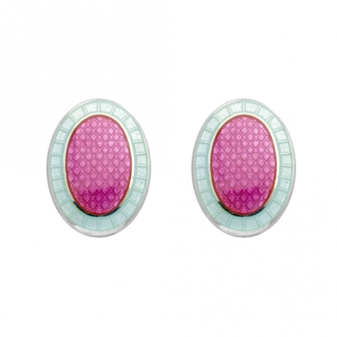Sterling Silver Parrot Pink Enamel Oval Cufflinks