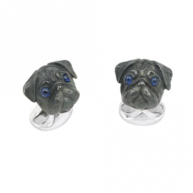 Sterling Silver Pug Cufflinks with Sapphire Eyes