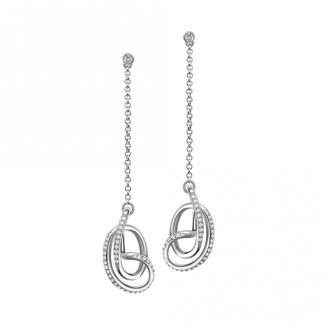 Sterling Silver Rhodium CZ Serenity Drop Earrings