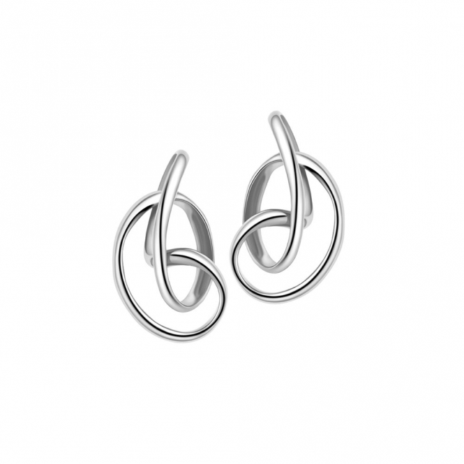 Sterling Silver Rhodium Serenity Stud Earrings