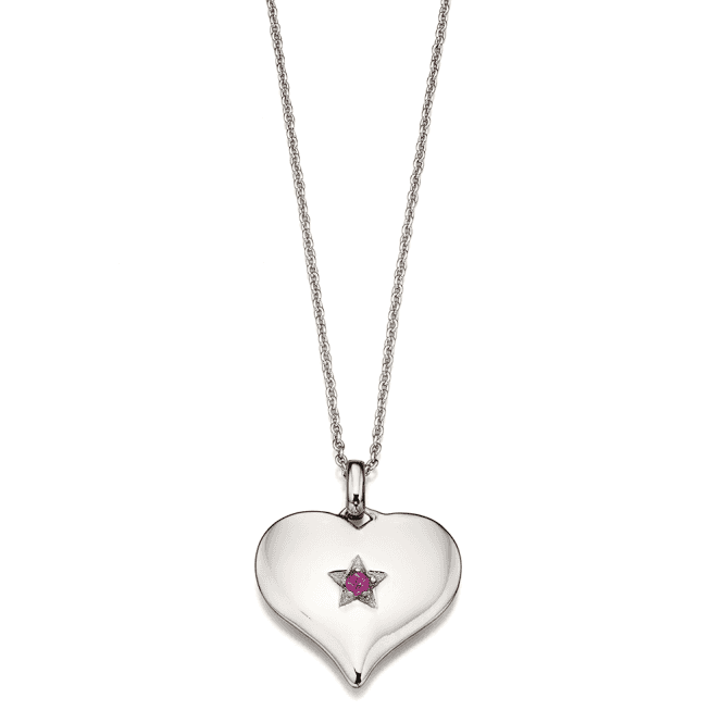 Sterling Silver Ripley Adults Pink Sapphire Large Heart Pendant
