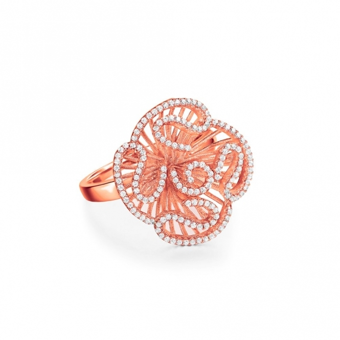 Sterling Silver Rose Gold Cascade Stud Ring