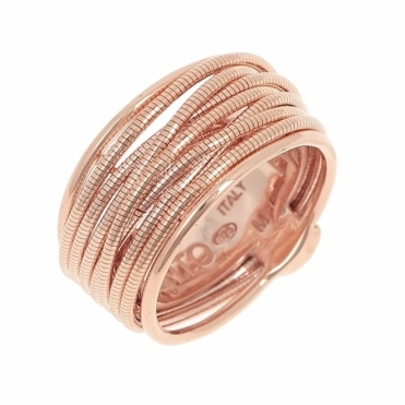 Sterling Silver Rose Gold DNA Ring