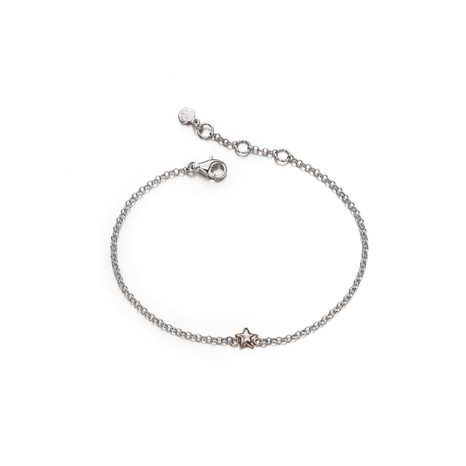 Sterling Silver Rose Gold Plated Small Star Bracelet