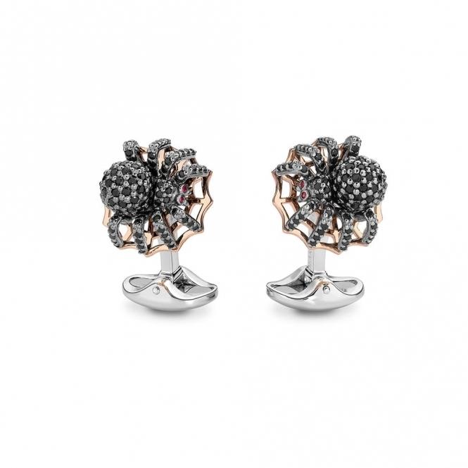 Sterling Silver, Rose Gold & Spinel Spider Cufflinks