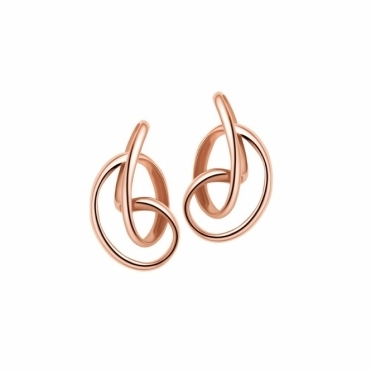 Sterling Silver Rose Gold Vermeil Serenity Stud Earrings