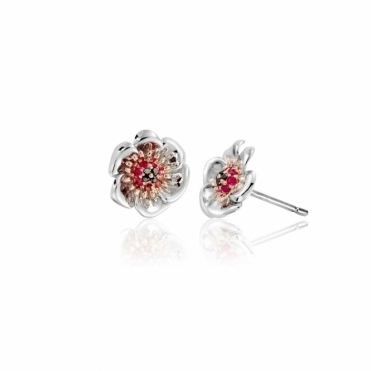 Sterling Silver & Rose Gold Welsh Poppy Stud Earrings
