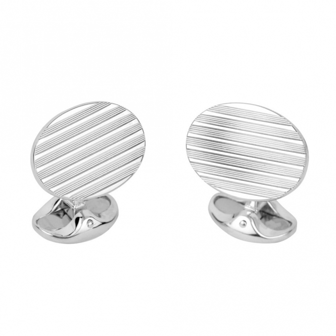 Sterling Silver Small Dome Engine Turned Oval Cufflinks