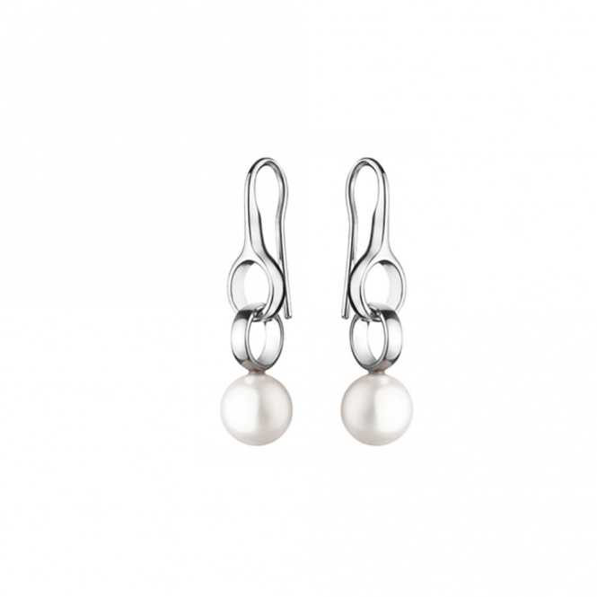 Sterling Silver Sphere White Pearl Earrings