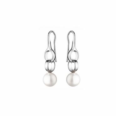 Sterling Silver Sphere White Pearl Earrings