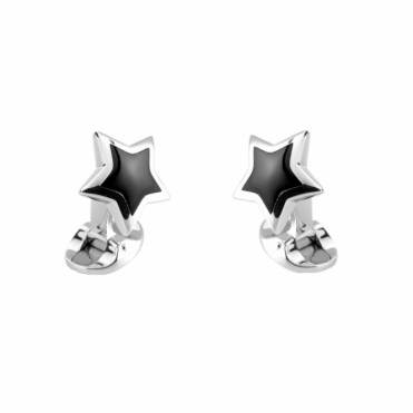 Sterling Silver Star Onyx Spring Back Cufflinks