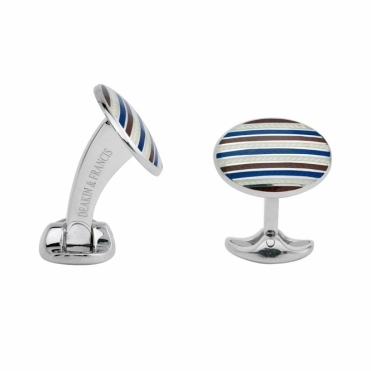 Sterling Silver & Striped Enamel Cufflinks